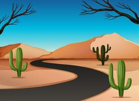 Woestijnland met weg vector