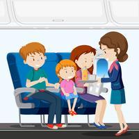 Een gezin op vliegtuig vector