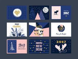 Set van artistieke creatieve vrolijk kerstfeest en Nieuwjaar