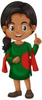 Bangladesh meisje in groen kostuum vector