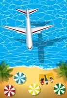 Vliegtuig die over de oceaan vliegen vector
