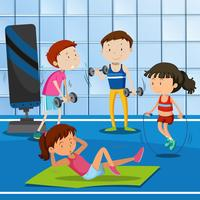 Mensen trainen in de sportschool vector