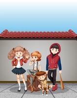 Groep tieners scène vector