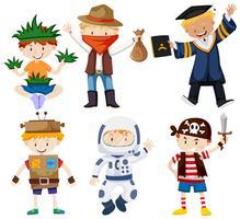 Jongens in verschillende kostuums vector