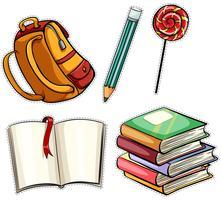 Sticker met onderwijsvoorwerpen die wordt geplaatst