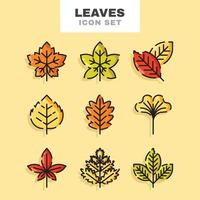 herfstbladeren pictogramserie vector