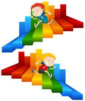Kind loopt op kleurrijke trap vector
