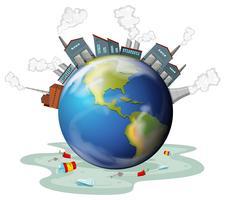 Fabrieksgebouwen en vervuiling op aarde vector
