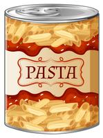 Pasta met saus in aluminium blikje vector