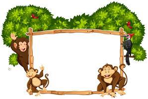 Grensmalplaatje met apen en toekan vector