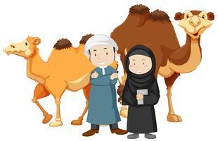 Twee islammensen en kamelen