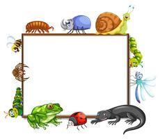 Grensmalplaatje met vele insecten vector