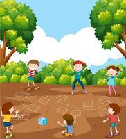 Kinderen spelen wiskundegame vector