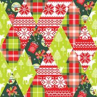 Kerstmis en Nieuwjaar patchwork naadloze achtergrond. vector