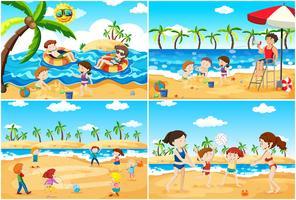 Een reeks kinderen die bij strand spelen