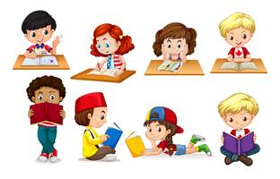 Jongen en meisje lezen en schrijven vector