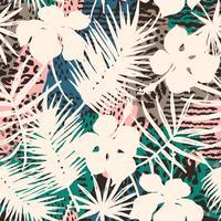 Naadloos exotisch patroon met tropische planten. vector