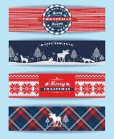 Kerstmis en Nieuwjaar Set. Geruite en gebreide achtergronden. vector