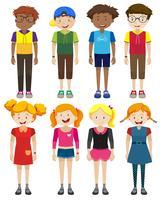 Jongens en meisjes met een blij gezicht vector