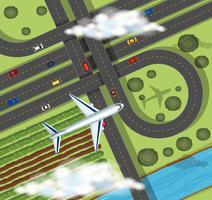 Scène met vliegtuig dat over landbouwgronden vliegt vector