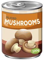 Een blik met gesneden champignons vector