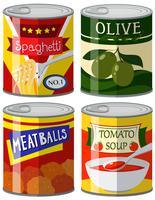 Vier soorten ingeblikt voedsel in set vector