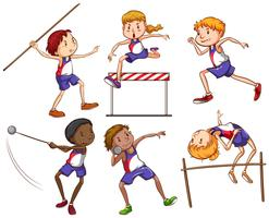 Kinderen bezig met verschillende buitensporten