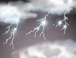 Bliksem storm scène achtergrond vector