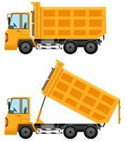 Stortende vrachtwagens in gele kleur vector