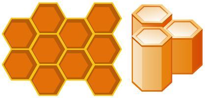 Voor- en zijaanzicht van honingraat