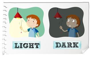 Tegenover bijvoeglijke naamwoorden licht en donker vector