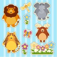 Sticker met wilde dieren op blauwe achtergrond wordt geplaatst die vector
