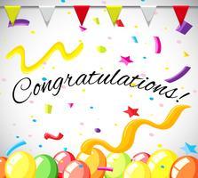 Felicitatie kaartsjabloon met kleurrijke ballonnen vector