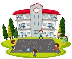 Kinderen spelen op school Speeltuin vector