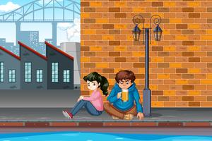 Probleem tiener zit naast de rivier