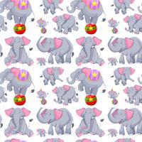 Naadloze achtergrond met grijze olifanten vector