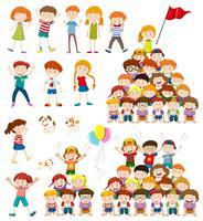 Kinderen en menselijke piramide vector