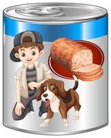 Gehaktbrood voor huisdierenhond in blik vector