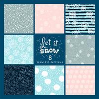 Vectorreeks de winter naadloos patroon met sneeuw en sneeuwvlokken. vector