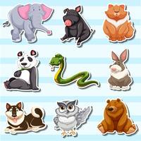 Stickerontwerp met veel dieren in het wild vector