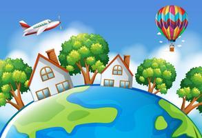 Vliegtuig en ballon vliegen over de hele wereld vector