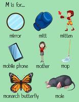 Veel woorden beginnen met letter M vector