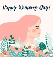 Internationale Vrouwendag. Vectormalplaatje met vrouw en bloemen.