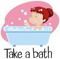 Wordcard voor neem een bad met meisje in ton vector