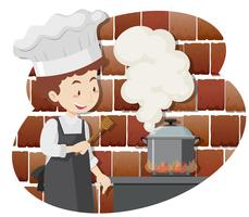 Een professionele kok kookvoedsel