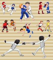 Sticker die met mensen wordt geplaatst die sporten spelen vector
