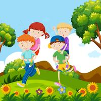Kinderen spelen meeliften in de natuur
