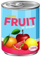 Blik van gemengd fruit op siroop vector