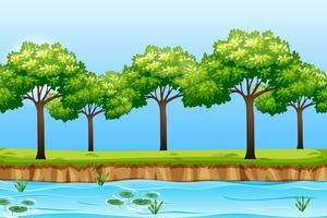 Een natuurrivierlandschap vector