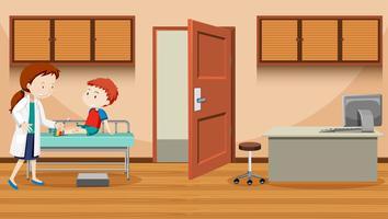 Arts die een gewonde jongen helpt vector